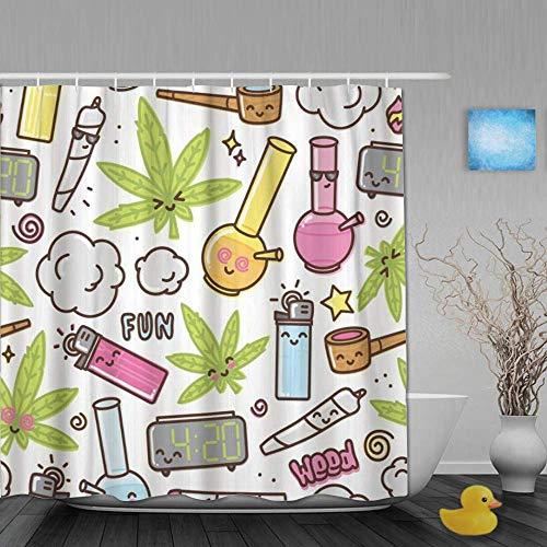 NA Dekoration Duschvorhang Green Weed Marihuana Kawaii Cartoon Weißes Muster Cannabis Rauch Bad Gardinen Wasserdichter Stoff Badezimmer Dekor Set mit Haken