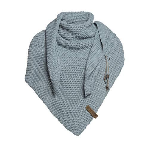 Knit Factory XXL driehoekig sjaal sjaal omhangdoek model Coco muts beanie gebreide sjaal 190x85 cm bruin/taupe