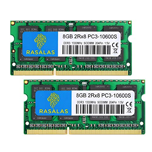 Rasalas PC3-10600 16GB Kit (2 x 8 GB) DDR3 1333 MHz SODIMM 2Rx8 Dual Rank 1,5 V CL9 204-Pin Non-ECC Unbuffered Notebook Laptop Arbeitsspeicher