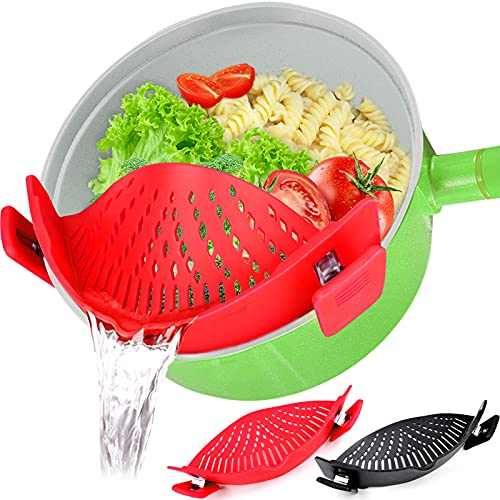 Food Strainer, 2 PACK Silicone Clip on Strainers Heat Resistant Clip On Strain Strainer Rice Colander Kitchen Gadgets Drainer Hands-Free for Pasta, Spaghetti, Ground Beef, Universal Fit All Pots Bowls