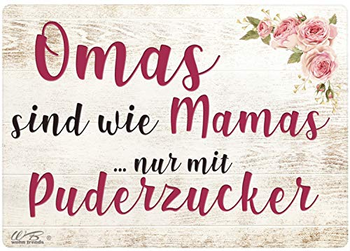 WB wohn trends Holz-Brett, Omas sind wie Mamas nur mit Puderzucker, Holz-Schild Wand-Bild...