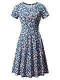 HUHOT Women Short Sleeve Round Neck Summer Casual Flared Midi Dress (Large, Floral-32)