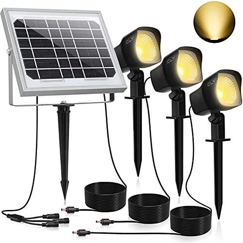 CLY Foco Solar LED, Proyector de Jardin, Blanco Cálido 3000K, Impermeable IP66,...