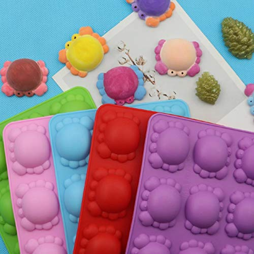 Fewear Moldes de silicona con 6 agujeros, diseño de cangrejo de caricaturas para decoración de tartas, moldes 3D para fondant