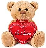 BRUBAKER - Peluche Douce - Ours / Nounours avec Cœur 'Je t'aime' - 35 cm - Brun Clair