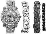 Cuban Bling-ed Out Luxury Silver Mens Watch w/The Coolest Bracelets - Distinctive