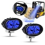 Faros Auxiliares de Moto,20W Faros Antiniebla Moto LED Foco Luces de trabajo Luz delantera auxiliar 12V/24V Azul para Máquina elevadora Moto Auto SUV ATV