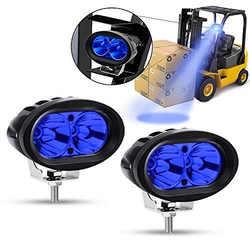 Feux Additionnels Moto,20W Phare LED Moto Avant Ronde Phare de Travail Feux Brouillard 12V/24V Bleu pour Chariot élévateur Offroad Voiture Camion ATV SUV Blat JK