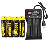 Best 18650 Battery Button Tops - 4 PCS of Yellow,18650-Rechargeable-Batteries,Button Top,9900mAh 3.7V Li-ion,65mmX18mm,With 1 Review