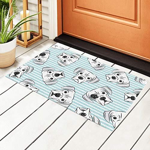 Fußmatte mit weißen Boxershorts auf hellblauen Streifen, PVC, mit rutschfester wasserdichter Unterseite, Bodenmatten für Außentür, Küche, Badezimmer, Innenbereich, 40 x 60 cm
