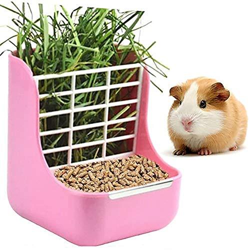 DEDC Alimentador de Heno, Doble Uso para Hierba y Comida, para Animales Pequeños, Conejos, Chinchillas, Cobayas, Cuencos 2 en 1 (Rosa)