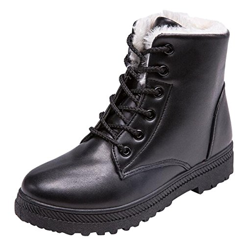 Hee grand Women Winter Snow Boots Fur Sneakers Shoes Lace-up Flat Platform Ankle Booties Boots Black Size 5