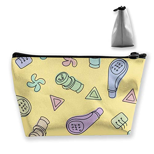 Joli sac de maquillage en position roue dentée, grand sac de rangement trapézoïdal, sac de voyage, sac de maquillage, porte-stylo, fermeture éclair, étanche