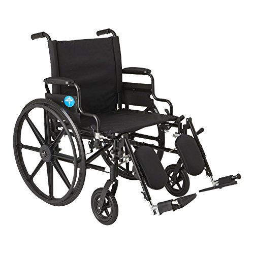 "Medline Premium Ultra-Lightweight Wheelchair with Flip-Back Desk Arms and Elevating Leg Rests for Extra Comfort, Black, 22"" x 18"