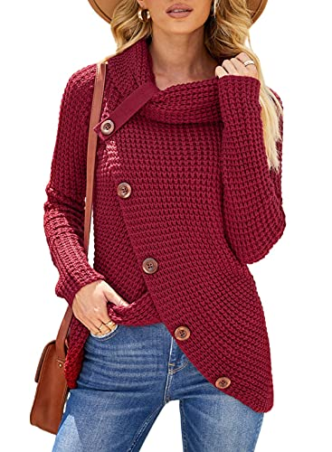 Asvivid Cowl Neck Sweater Fall Sweaters for Women 2021Cozy Button Asymmetrical Wrap Pullover Sweater Cute Juniors Sweater Red Tops 2XL