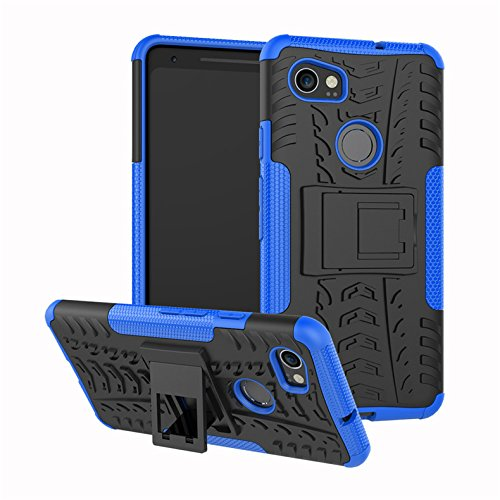 Google Pixel 2 XL Case, FANSONG [Heavy Duty,with Kickstand] Rugged Rubber Hybrid Hard Shockproof Case Cover- Blue