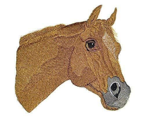 BeyondVision Individueel en uniek paardengezicht geborduurde ijzeren naaipatches 6,3 x 6 wit, zwart, bruin, grijs