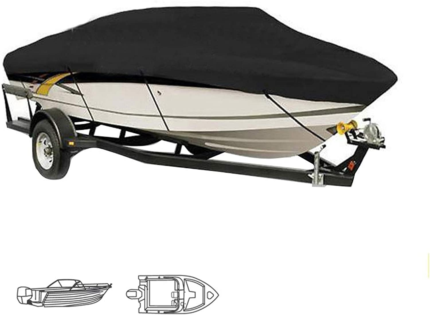 Heavy Duty Waterproof Speed Boat Cover All Weather Outdoor Predection Fits VHull,TriHull,Fishing Boats,Size 1113ft,1416ft,1719ft,2022ft