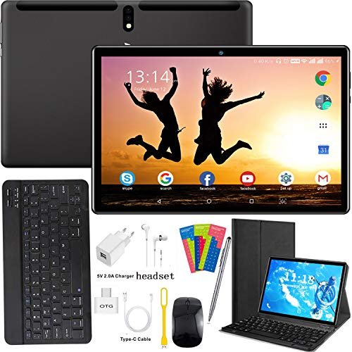 10.1 Inch Tablet Android 9.0, Quad Cord, 64GB ROM 4GB RAM/256GB Scalable, Google Play, WIFI, GPS, Cameras, Dual SIM, 1280x800 HD IPS Screen - AOYODKG 10 Inch Tablet Pad GMS Google certification (Black