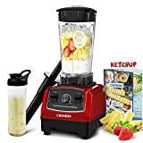 CRANDDI Countertop Blender, with 1500W Base, Professional High-Speed Smoothie Blender with 70oz Pitcher for Family Size Frozen Drinks and Smoothies, Built-in Pulse & 9-speeds Control, Easy Self-Cleaning, YL-010-R