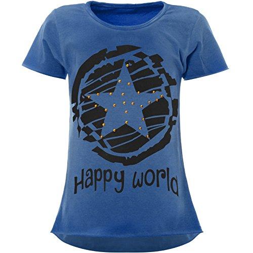 BEZLIT Stern-Print Mädchen Kinder T-Shirt Kunst-Perlen Kurzarm Shirt 22158 Blau Größe 140
