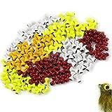 MAXIMUMCATCH Painted Lead Dumbbell Eyes Augen, Fliegenbinden Materialen, Fliegenbinden Perlen, Dumbbell Bead, 25 Stück pro Packung, Gelb/Orange/Rot/Weiß (4mm, Rot)