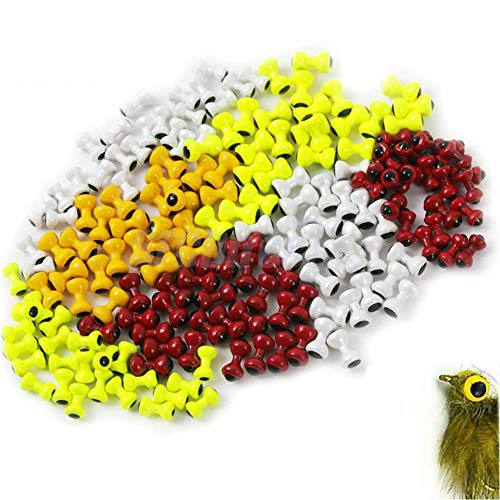 MAXIMUMCATCH Painted Lead Dumbbell Eyes Augen, Fliegenbinden Materialen, Fliegenbinden Perlen, Dumbbell Bead, 25 Stück pro Packung, Gelb/Orange/Rot/Weiß (4.8mm, Gelb)