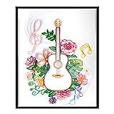 Tulolvae Papier Quilling Set, Blume und Gitarre Papier Filigrane Malerei Kit, Quilling Set Für DIY Quilling Kunsthandwerk, Quilling Papier Painting Kits für Anfänger, Kinder und Erwachsene