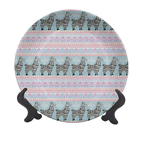 Llama - Plato decorativo de cerámica de 20,32 cm, bordes horizontales con diseño de animales de alpaca y adornos tribales folklóricos, plato de cena de cerámica decorativo para mesa de Navidad