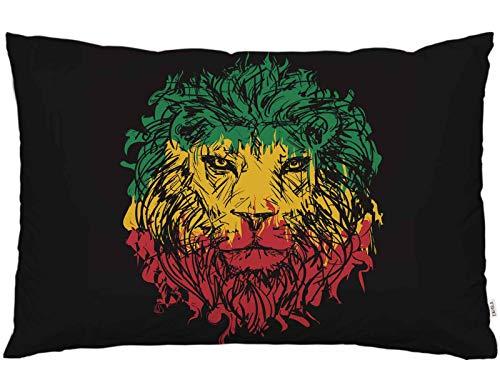 EKOBLA Überwurf Kissenbezug Rasta afrikanische Flagge Jamaika Reggae Rastafari Löwe Kopf Tier Kunst Dekor Lendenwirbelkissen Fall Kissen für Sofa Couch Bett Standard Queen Größe 50,8 x 76,2 cm