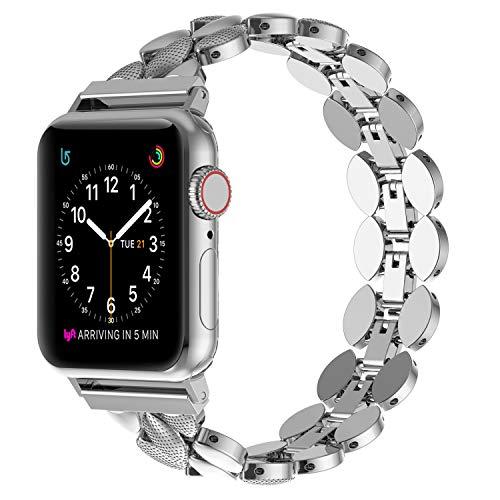 Ownaco Cinturino di ricambio per Apple Watch Series 5/4/3/2/1,38 mm, 40 mm, 42 mm, 44 mm, cinturino in metallo con chiusura pieghevole per donne e uomini