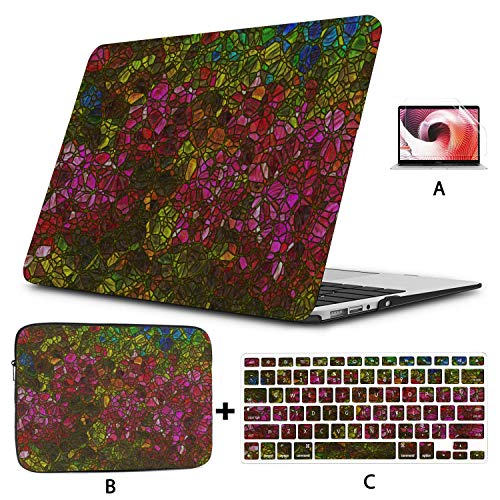 Hard Laptop Cases Colorful Retro Art Stained Glass Macbook Pro 2018 Accessories Hard Shell Mac Air 11'/13' Pro 13'/15'/16' With Notebook Sleeve Bag For Macbook 2008-2020 Version