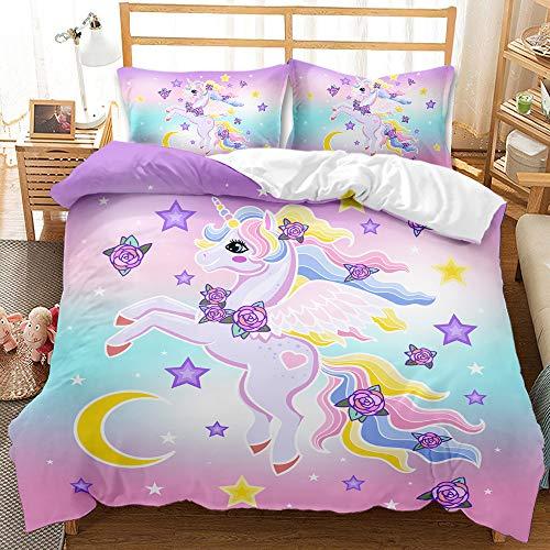 YIUA Ropa de cama con diseño de unicornio, funda nórdica con 1/2 fundas de almohada (135 x 200 cm)