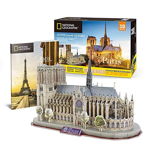Rompecabezas 3D Atracciones de fama Mundial, Modelo de construcción de la Ciudad, ensamblaje Juguetes educativos para niños (Notre Dame Cathedral, Paris)