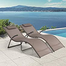 Crestlive Products Patio Chaise Lounge, Set of 2 Folding Outdoor Lounge Chairs, Pool Sunbathing Chairs with Headrest All Weather Furniture for Outside Clearance in Brown Finish(2PC Brown)