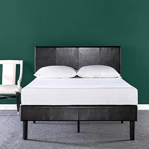 Zinus Gerard Deluxe Faux Leather Upholstered Platform Bed/ Mattress Foundation/ Easy Assembly/ Strong Wood Slat Support, Full