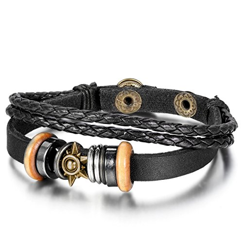 JewelryWe Schmuck Herren Damen Armband, Leder Legierung, Vintage Tribal Sonne Ringe Kreise Geflochten Armreif, Schwarz Silber