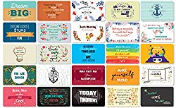Image: Hearty Cardy 25 Beautiful Designed Full Rich Colored Complimentary Motivational Quote Cards, Thick Stock Paper, Back of Card is Smooth and Matte so you can Write your Personal Message (Mint Edition)