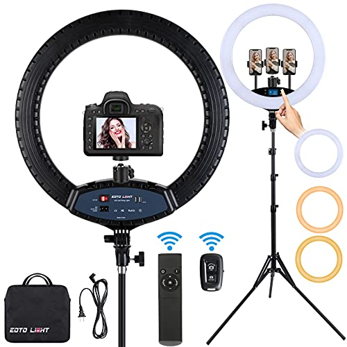 19 inch LED Ring Light with Tripod Stand Selfie Ring Light, LCD Display Touch Screen, Dimmable Light...