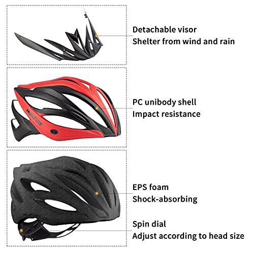 MOKFIRE Adult Bike Helmet with Removable Visor & Rear Light CE Certified Bicycle Cycling Helmet, Adjustable Lightweight Mountain Road Helmets for Men Women 58-62cm