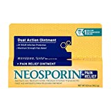 Neosporin + Maximum-Strength Pain Relief Dual Action Ointment, First Aid Topical Antibiotic & Analgesic Ointment for 24-Hour Infection Protection with Bacitracin Zinc & Pramoxine HCl.5 oz