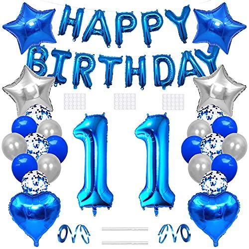 Xihuimay Globos de helio para decoración de cumpleaños para 11 años, globos de helio, número 11, globo de látex con forma de corazón, color plateado y azul
