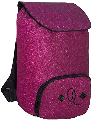 Monogrammed Me Glitter Backpack, Pink, with Glitter Vinyl Sweetheart Monogram Q