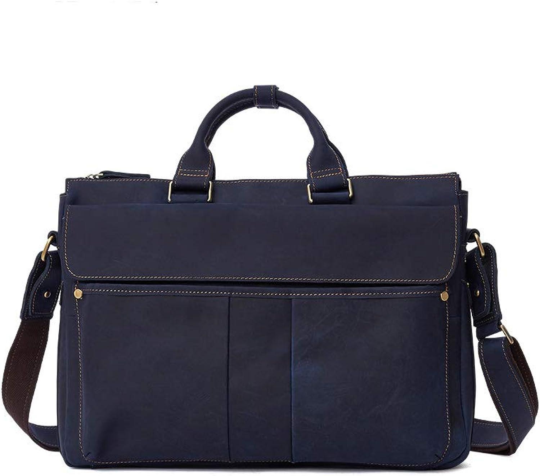 Vintage Herren Leder Aktentasche, Business Herren Umhngetasche, Casual Handtasche, groe Umhngetasche, Farbe (blau, braun)