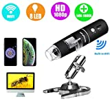Skybasic WiFi Digital Microscope, 50X-1000X Handheld Digital Zoom Microscope Endoscope Magnifier HD 2MP