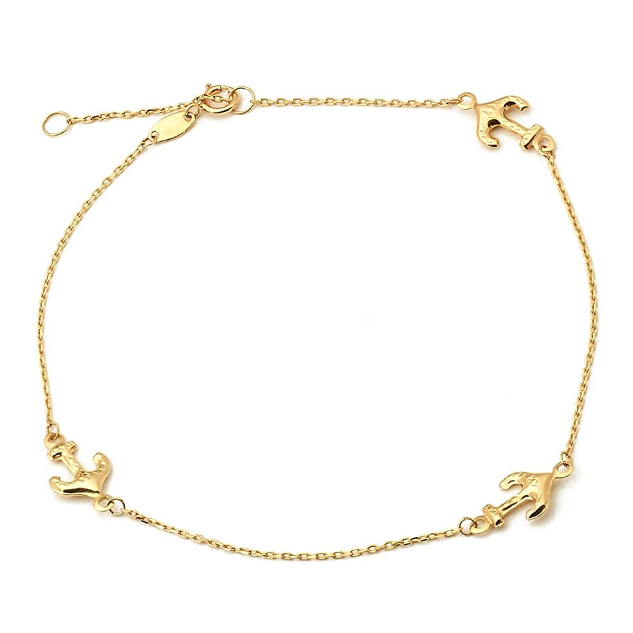 LOVEBLING 10K Yellow Gold .50mm Diamond Cut Rolo Chain with 3 Anchor Pendants Anklet Adjustable 9