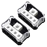 Power Distribution Block 4 Way, 0 2 4 AWG Gauge in / 4 8 10 Gauge Out, Car Audio Stereo Amp Distribution Connecting Block for Car Audio Splitter 2 pcs (1 in 4 Out)