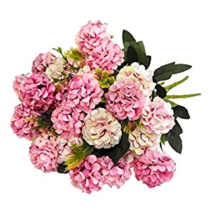 KIRIFLY Artificial Flowers,Fake Silk Mini Hydrangea Bulk Peony Flowers Wedding Decoration Bouquet Decor Plastic Flower Arrangements Table Centerpieces 3 Packs