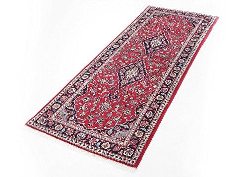 Keshan Perserteppich Original handgeknüpft aus Wolle echter Orientteppich Läufer in Rot, Größe:...
