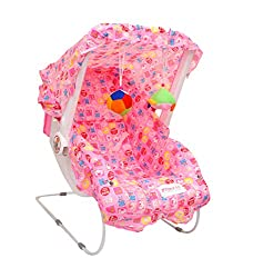 eHomeKart Carry Cot Cum Bouncer – 10 in 1 – Feeding Chair, Baby Carrier, Baby Chair, Rocker, Bath TUB, Carrying, Bouncer, Storage Box & Baby Swing with Mosquito Net(Pink) (Pink)